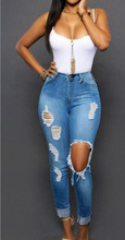New 2016 Arrival ripped big hole tassels high waisted jeans washed full length denim pants trousers plus size women womans 218