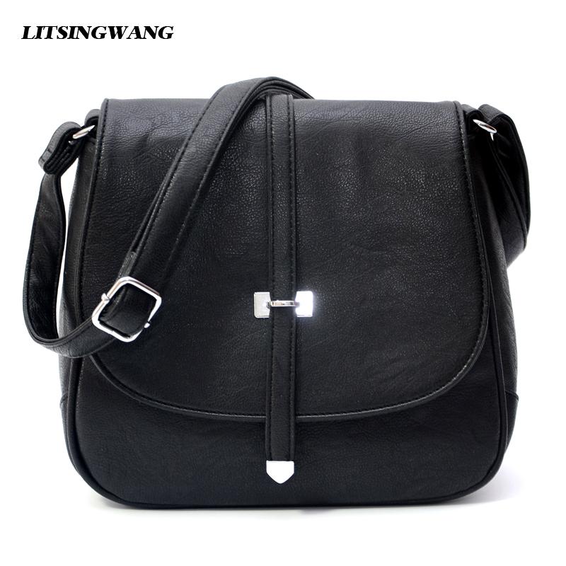 LITSINGWANG New Simple Leather Shoulder Messenger Bags Womens Ladies Casual Handbags Crossbody Small Bolsas Femininas Black Blue