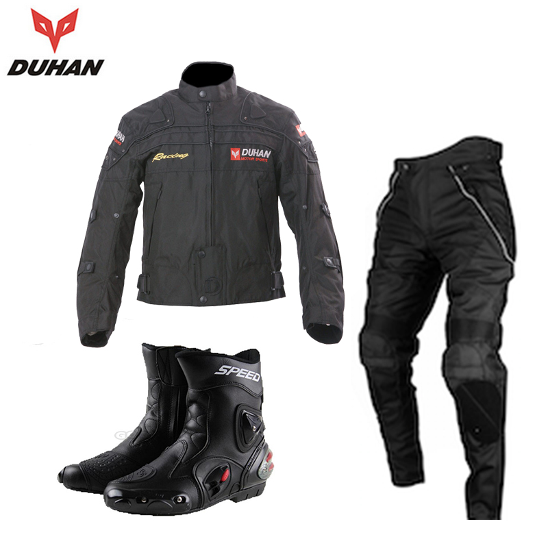 DUHAN Men's Windproof Waterproof Motocross Off-Road Racing Jacket Pants with Boots Set Motorcycle Riding Clothing with Protector(China (Mainland))