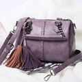 Chic Woven Pattern Japan Korean Style Women Fringes Shoulder Bag Stylish Designer Tassels Handbag Classy Crossbody