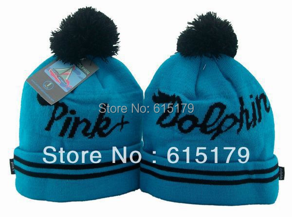 Hip-Hop Unisex Pink+dolphin Script Blue Beanies Wen's Women's Winter knit Cotton wool Hats Snapback caps 1pcs/lot(China (Mainland))