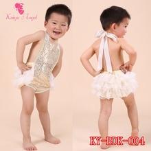 Latest  NO MOQ Design  golden sequin yellow Cotton Bubble Romper  Cotton Baby Bubble Romper free shipping(China (Mainland))