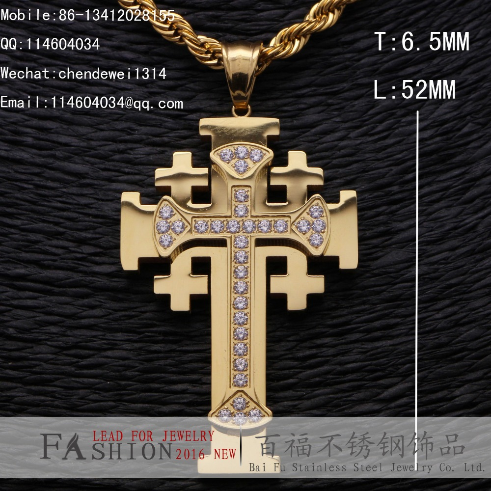 REAL SOLID 14K YELLOW GOLD PLATED MEN'S WOMEN'S CROSS CNC CZ PENDANT FOR STAINLESS STEEL(China (Mainland))