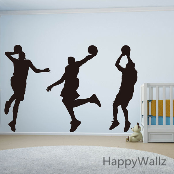 3 Basketball Players Wall Stickers Sports Wall Decal DIY Vinyl Wall Decoration Boys Wall Stickers S12(China (Mainland))