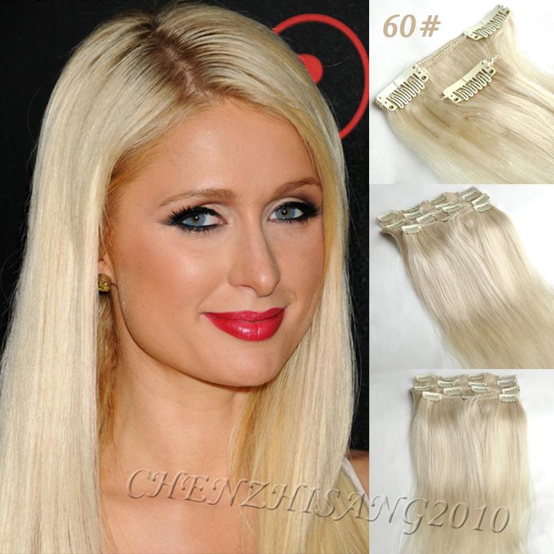 Premium Now Hair 22 inch 55cm 80g 7Pcs/Set Natural Blonde Straight Clip Extensions - LAN YA store