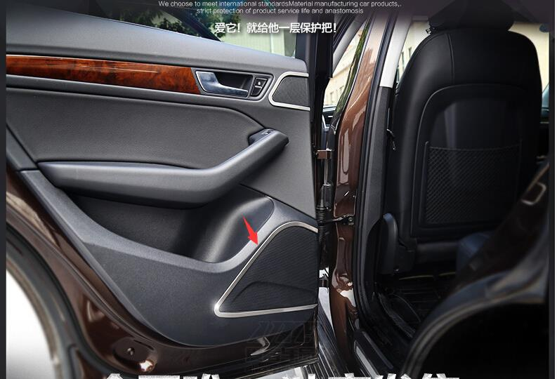 accessories For Audi Q5 2013 -2015 Stainless Steel Side Door Audio Speaker Cover interior Trim 4pcs / set<br><br>Aliexpress