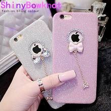 Hot Selling For iPhone SE 5 5S 6 6S 6/6S Plus Phone Case Bling Glitter Powder Shine Bowknot Phone Back Cover With LOGO Window