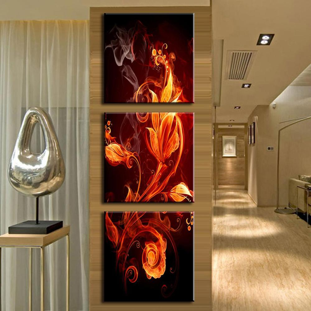 3 Pcs/Set Hot Sale Framed Painting Abstract Canvas Wall Art Modern Wall Paintings Fire Floral Pattern In Black Art Picture(China (Mainland))