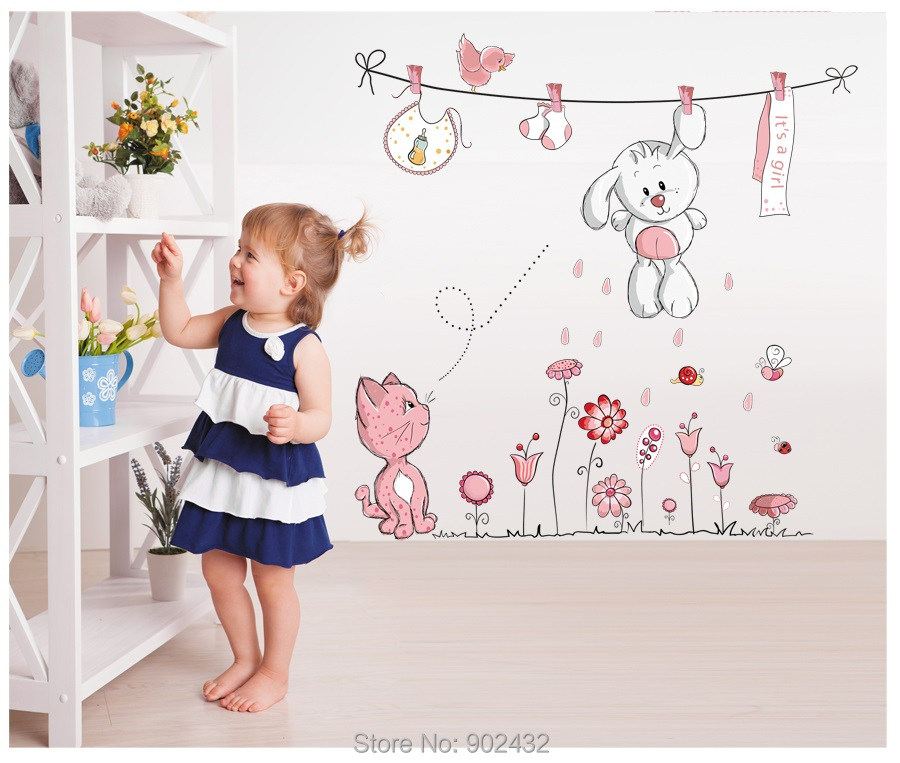 Pink Cartoon Cat Rabbit Flower Wall Sticker For Baby Girls Kids Rooms Home Decor Classroom Wall Decals Teddy Heart Umbrella(China (Mainland))