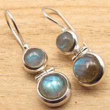 Buy Natural LABRADORITE Gems Fashion Jewelry Dangling Earrings ! Silver Plated for $9.38 in AliExpress store