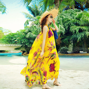 Women Summer Beach Dress Desigual Bohemia Chiffon Full Dress Long Saia Large Long Dress Yellow Sashes Belt Maldives