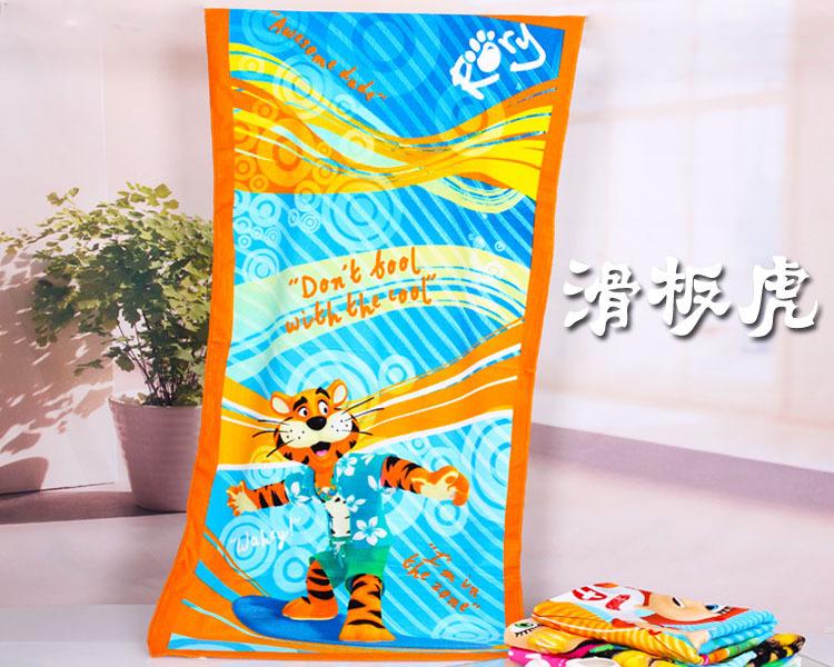 The cartoon printed soft water absorption Superfine fiber reactive printing beach towel bath towel free shipping(China (Mainland))