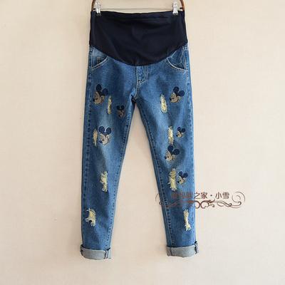 Лето / осень беременным джинсовые trouseres беременных вышивка эластичный пояс джинсы
