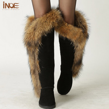 Fashion Nature big fox fur thigh lady snow boots for women winter boots sheepskin leather fur lined shoes long boot High Quality(China (Mainland))