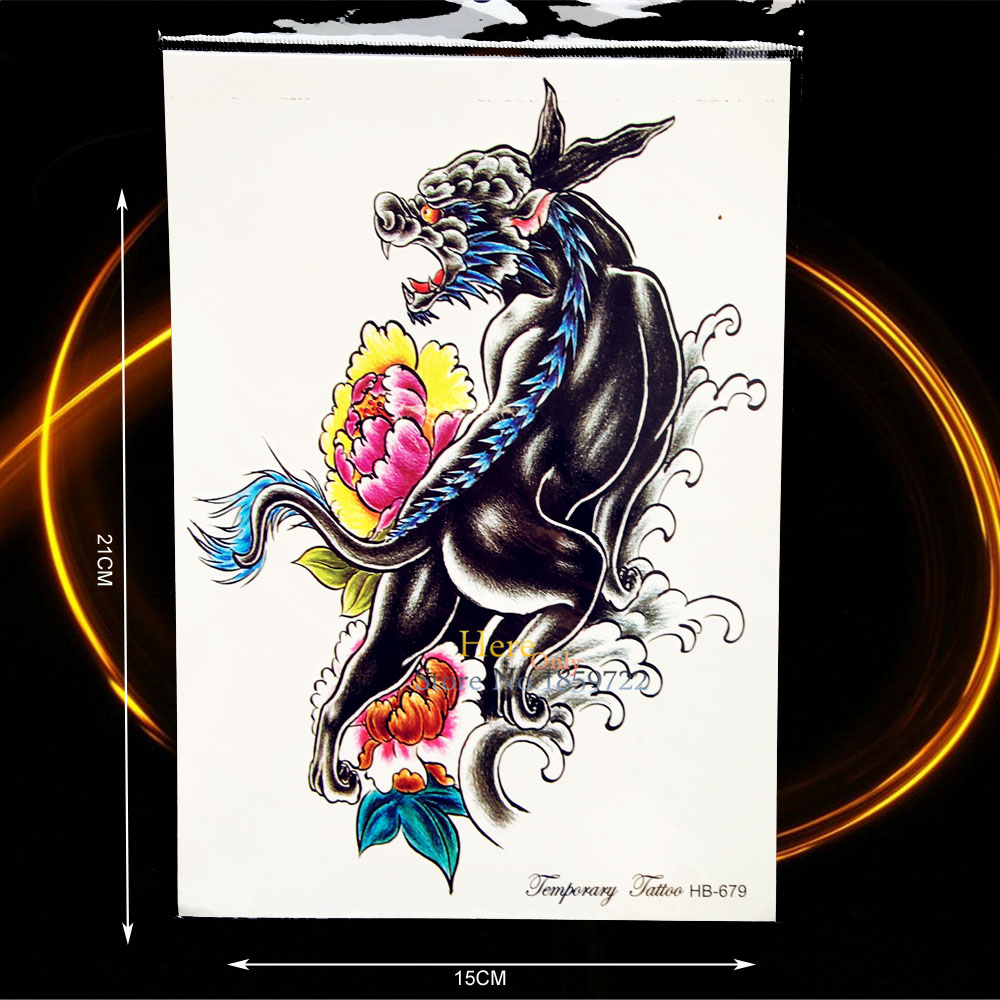 1PC Large Animal Tattoo Waterproof Chest Back Decals Black Fierce Beast Design Temporary Arm Tattoo Sticker Wall Stickers HHB679(China (Mainland))
