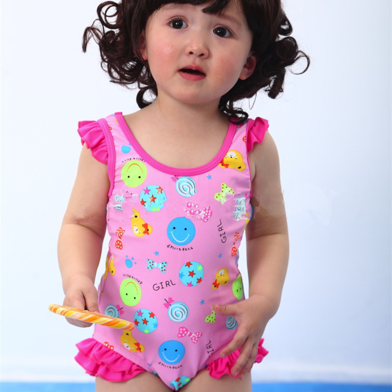 Retail new arrivals pink cotton girls swimsuit baby one-pieces infant swimwear for 12-24Months swimwear for babies Kp-15018(China (Mainland))