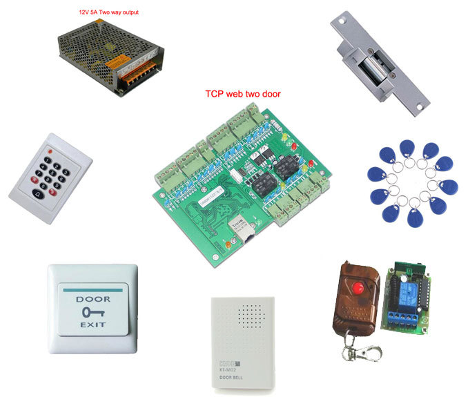 Access control kit,web two door TCP/IP+keypad reader+power+strike lock +remote control +exit button +bell+10 em tags,sn:web-209(China (Mainland))