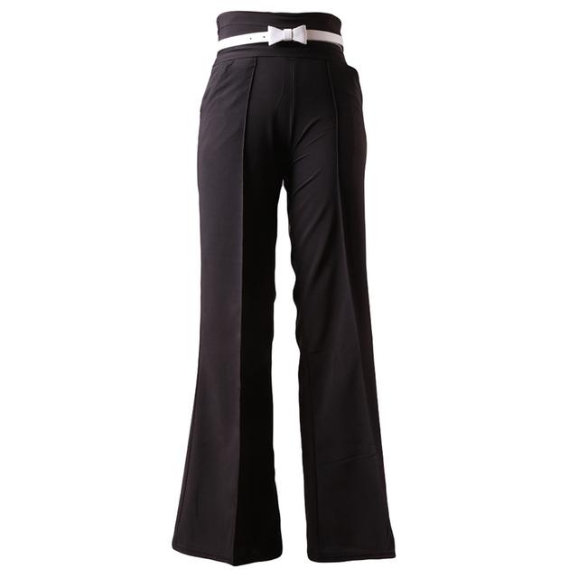 Women Casual Black Long Pants Slim High Waist Flare Vintage Career ...