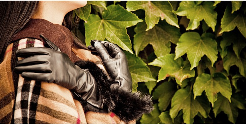 Sheepskin gloves ms long winter fur one elegant aristocratic wind leather - Online Store 214194 store