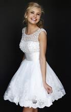 2015 billige weiße Kurze Brautkleider Spitze Perlen Brautkleider Plus Größe Vestido De noiva curto Real Sample Robe De Ehe(China (Mainland))