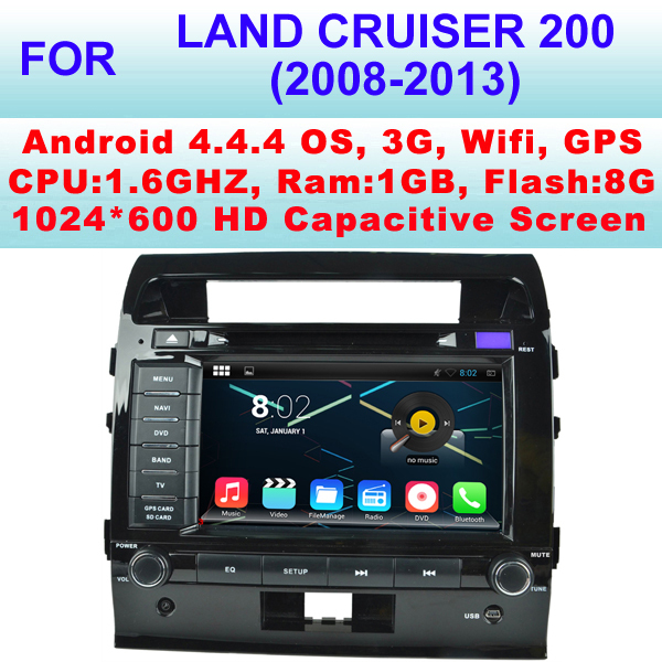 Android 4.4.4 Car GPS For Toyota Land Cruiser 200 Car Radio (2008-2013)Support WiFi 3G,Pixel 1024*600,Android Apps Installation(China (Mainland))