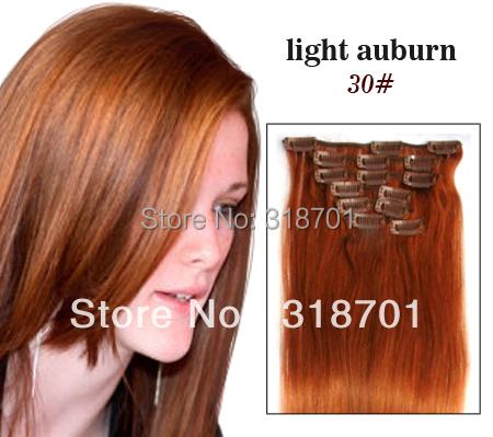 """Здесь можно купить  Straight clip in human hair 7pcs Extensions light auburn 80grams,color #30,15"""" 18"""" 20"""" 22"""" 24  Волосы и аксессуары"""