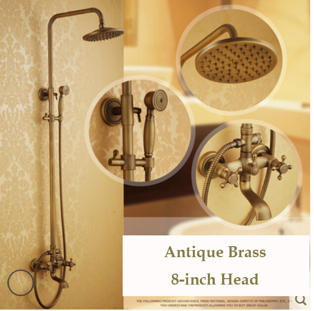 "Dual Cross Handle Bathtub Shower Faucet 8"" Brass Rainfall Shower Head + Handheld Shower Antique Brass Finish(China (Mainland))"