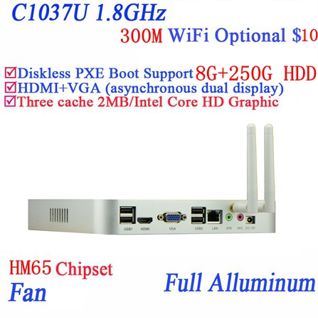 Popular mini pc systems windows 7 or linux with Celeron dual core C1037U 1.8GHz extreme ultra-thin chassis 8G RAM 250G HDD(China (Mainland))