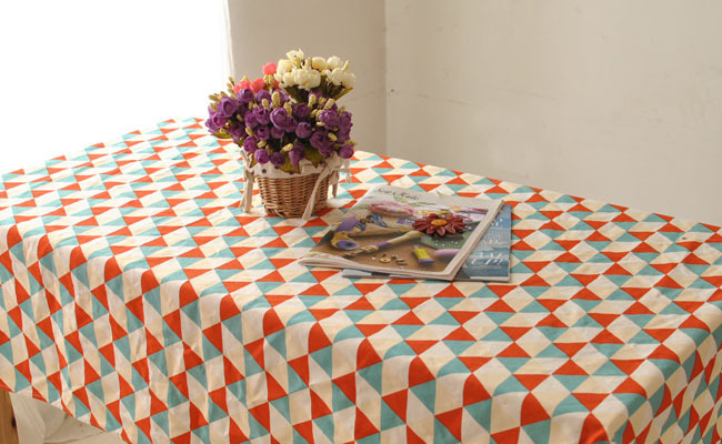 Creative Home pastoral style tablecloths tablecloth Red and blue triangle geometric patterns Art can be customized table cloth(China (Mainland))