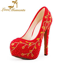 Love Moments shoes woman wedding shoes bride women red earl high heels pumps platform evening dress party ladies women shoes(China (Mainland))