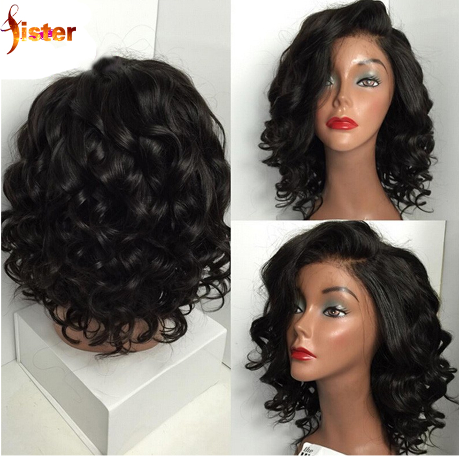 8A Full Lace Human Hair Wigs for Black Women Glueless Full Lace Wigs Brazilian Virgin Hair Bob Wavy Lace Front Human Hair Wigs(China (Mainland))