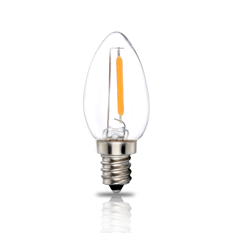 Free shipping C7 AC120v 0.7W Christmas filament bulb party using candle light ul certificate energy saving small nightlamp(China (Mainland))