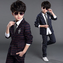 2016 New Boys Formal Suits for Weddings Brand England Style 6-14T Man Child Plaid Formal Party Tuxedos Boys Formal Suits, YC085(China (Mainland))