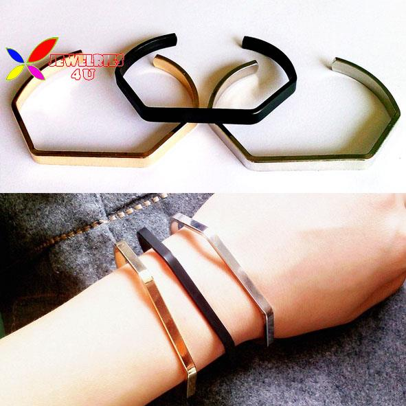 2015 new fashion woman rock and roll gold silver black copper metal cuff bracelet bangle pulseras de las mujeres(China (Mainland))