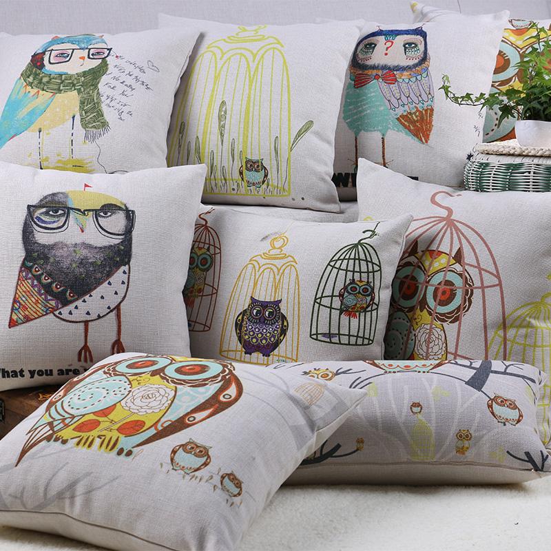 Free Shipping Wholesaler 100% New Pillow Cover Cotton Thick Linen Cute Cartoon Throw Pillows Office Sofa Bed Car Cushions Good(China (Mainland))