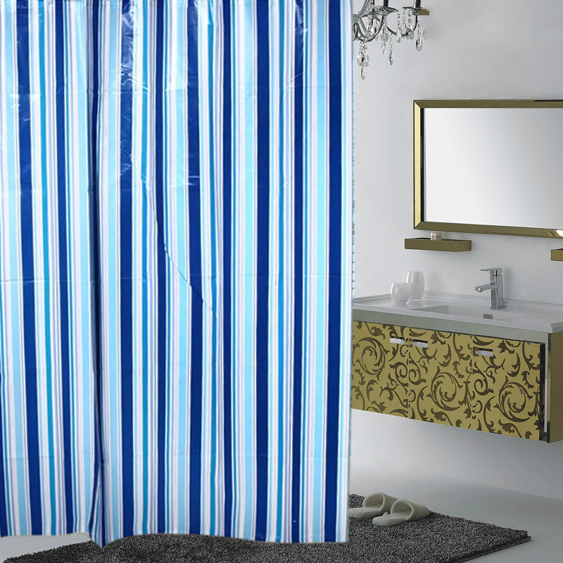 new bathroom curtains rideau de douche salle de bains funny blue vertical stripes shower curtain. Black Bedroom Furniture Sets. Home Design Ideas