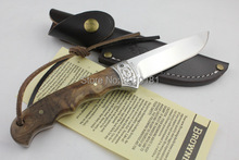 OEM Browning Shadow Wood Fixed blade Hunting Camping knifes Survival Knife Outdoor rescue knives free shipping