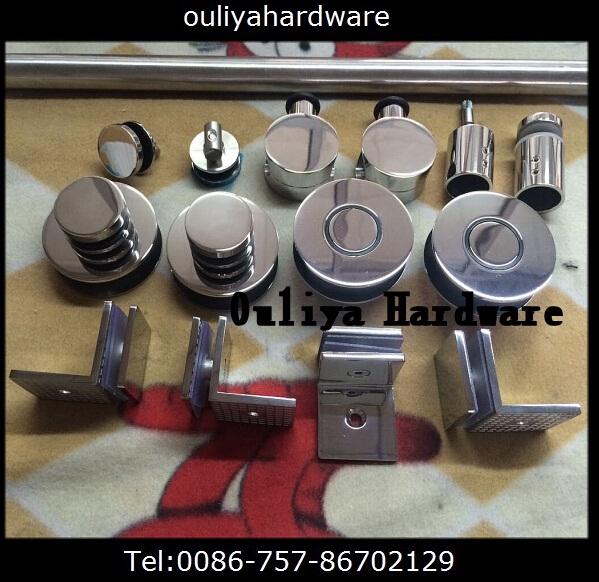 Free shipping Satin finished stainless steel frameless sliding glass shower door hardware(China (Mainland))