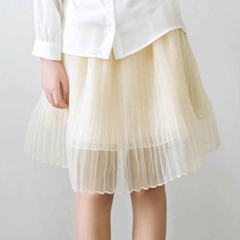 Tutu Skirt Seersucker Knee Length Purple Beige Grey Pink Tulle Skirt Elastic Waist Small Size Pleated Skirt(China (Mainland))