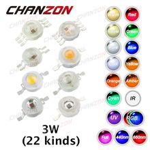 10pcs High Power LED Chip 3W LED Beads 3 W Natural Cool Warm White Red Blue Green UV RGB RGBW IR Full Spectrum Grow Light 3 watt(China (Mainland))
