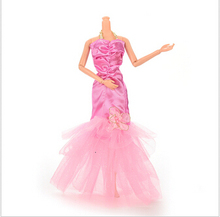 1Pcs New 3 Color Handmade Fishtail Dress For Barbie Doll Lace Flower Doll Dresses Dolls Accessories(China (Mainland))