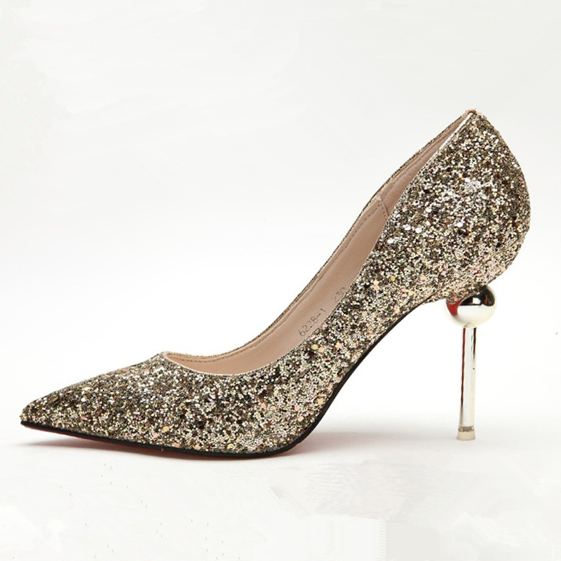 US 4-9 Fashion Sequined Cloth Bling Bling Pointy Toe Thin Heels Woman Sexy Night Club Bride Weeding Heels Shoes