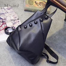 Buy European And American Style Buttons Zipper Solid Black Foldable Backpacks PU Leather Female School Bags Teen Girl Mochila Women for $16.57 in AliExpress store