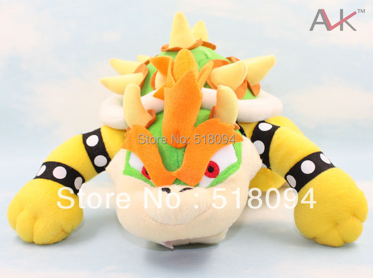 "Free Shipping Super Mario Bros Bowser Plush Toys Dragon Bowser Koopa Soft Stuffed Plush Doll Toys 10"" 26CM SMPD110(China (Mainland))"