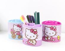 Pretty Hello Kitty Pen case Desktop Storage bucket multifunction pencil box/Toothbrush holder Pen Holders(China (Mainland))