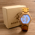 BOBO BIRD Men s Wooden LED Watches Digital Watch Kisai Night Vision Calendar Wristwatch for