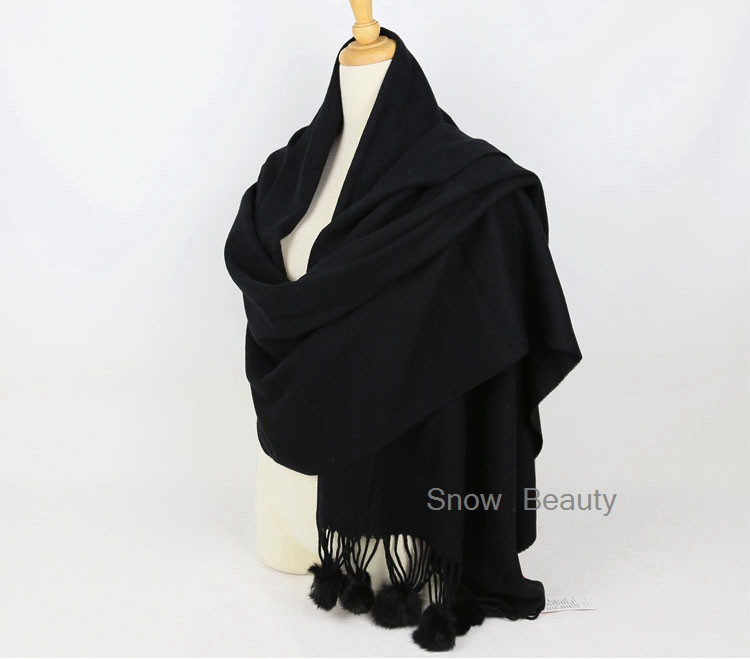 Women Winter Scarf Thick Solid Color Big Size Shawls Thick Warm Long Brand Real Sheep Fur Cape with Natural Rabbit Fur Pompom