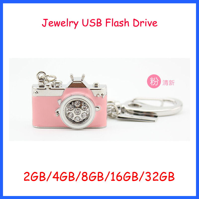 Free Shipping ! Jewelry Camera USB flash drive Diamond USB Pendrive 2GB 4GB 8GB 16GB 32GB USB Flash Memory(China (Mainland))