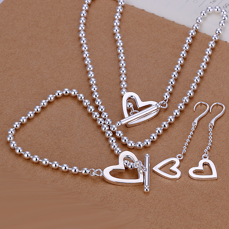 Luxury Heart Pendant Earrings&Beads Necklace&Bracelets Sets 925 Sterling Silver Jewelry Women - Ka Dina Co., LTD. store