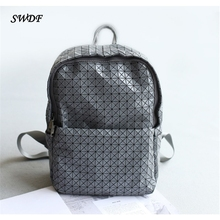 SWDF- 2016 Women Backpack 3D Laser Geometric Lingge Folded Mochila PVC School Bag Softback sac dos Shoulder Bags - wk -SWDF- store
